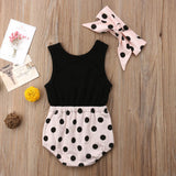 Polka Dot  Patchwork Romper and Headband