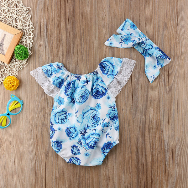 Miss Blue Lace romper and headband set
