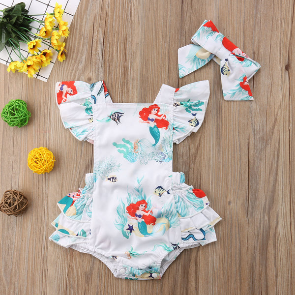 Mermaid Ruffle Back Romper