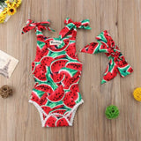 Baby Watermelon Romper Sunsuit Headband 2Pcs Set - Debbie's Kids Boutique