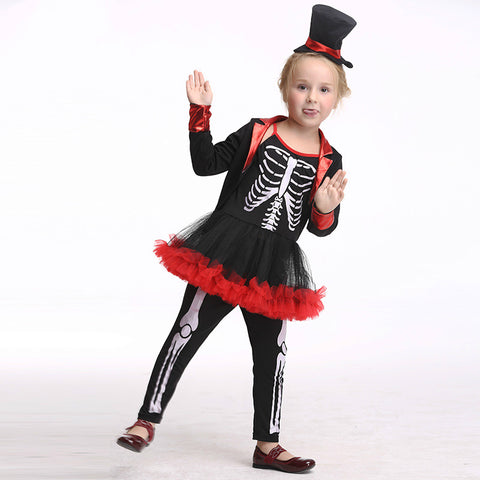 Girl's Skeleton Vampire Halloween Costumes