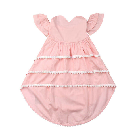 Little Girl Off shoulder Ruffles Lace Layered Asymmetrical Party Dresses