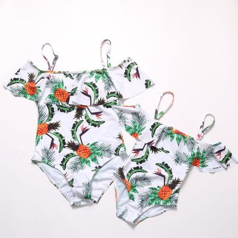 Mommy and me matching leaves swimsuit