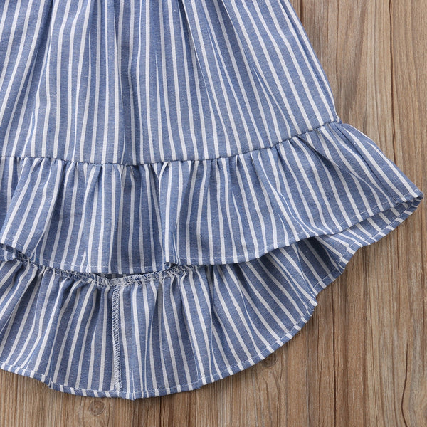 Girls ruffle sleeve stripe sundress