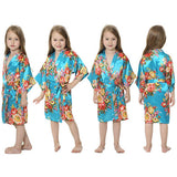 Girls Silk Floral Robes