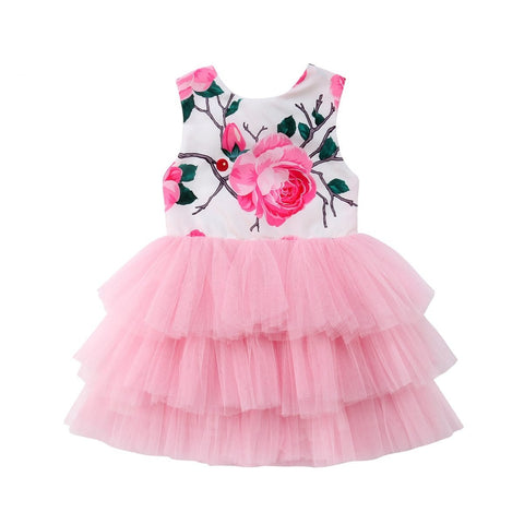 Girls Floral Print Tulle Backless Party Layered Sundress