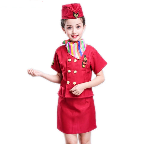 Flight Attendant  Halloween Cosplay Costume With Hat Scarf