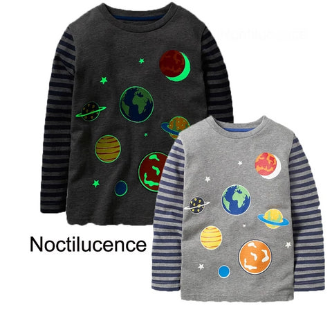 Boys Planets Glow in the Dark T shirt