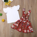 Sister's matching Cotton T-shirt & Floral Suspender Skirt Overalls