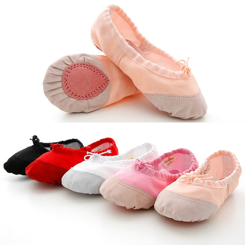 Soft Canvas and Leather Head Ballet Shoes