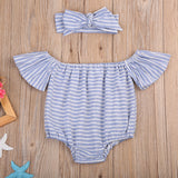 Sky Blue Flutter Sleeve Romper and Headband