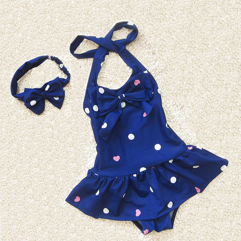Girls Navy Blue Swimsuit and Headband