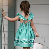Girls Butterfly Sleeves Backless Lace Up Sundress