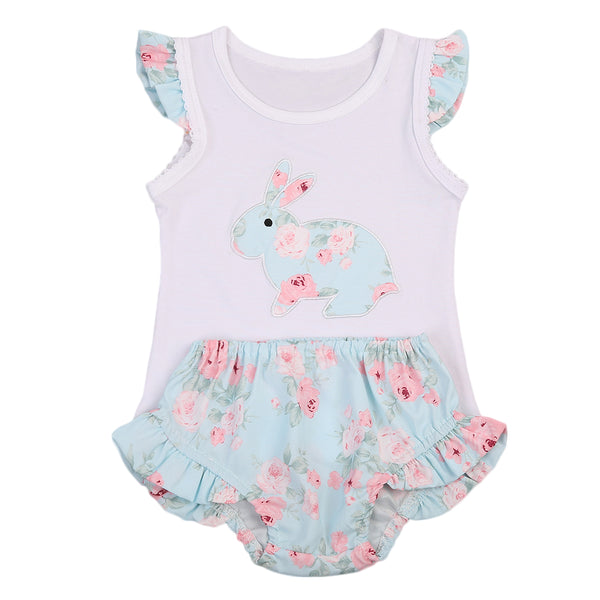 Baby Girls Rabbit Vest+Shorts 2pcs set