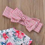 Summer Floral Toddler Baby Girl Clothing Off Shoulder Tops Shorts Headbands Casual 3Pcs Set Clothes Baby Girls 0-24M
