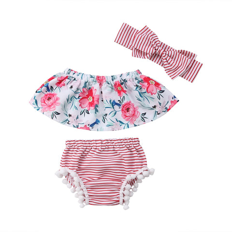 Off Shoulder Top, headband and Shorts set