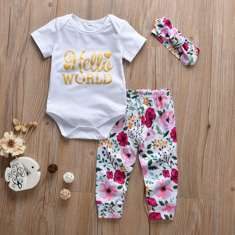 Infant Hello World Floral Onesie, Pants and Headband set