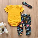 Cute Ruffled Short Sleeves Yellow Romper + Flowers Pants + Headband set