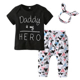 Daddy is my hero t shirt + pants + headband set