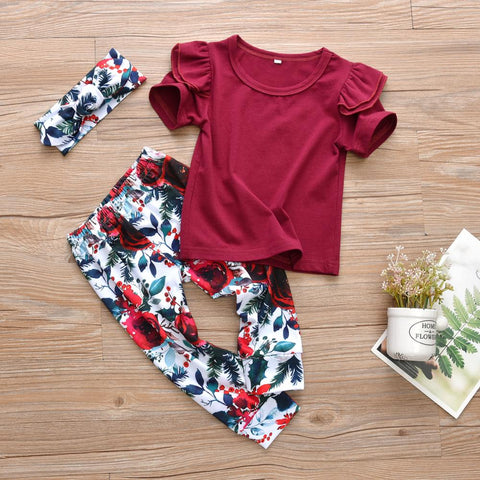 Miss Rose Tee, pants and headband set