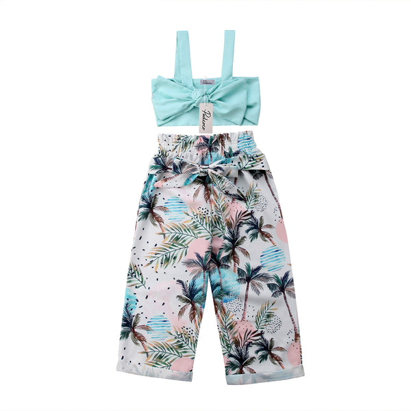 Little Girl's  Bowknot Crops Tops+Tree Pants 2Pcs et