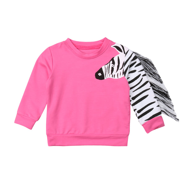 Girls Zebra Stripe Sweatshirt
