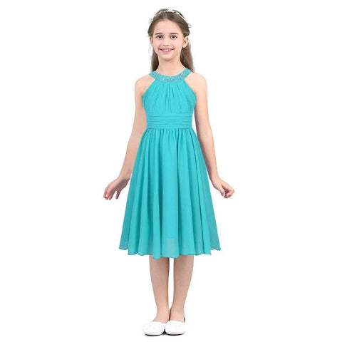 Girl's Flower Shaped Rhinestone Chiffon Flower Girl Dress