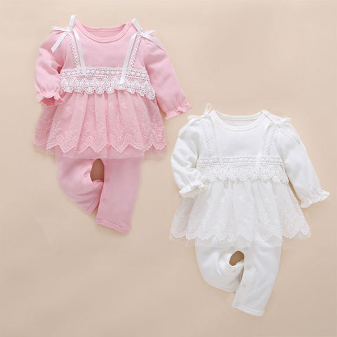 Stunning pink lace Baby Top and Pants Set