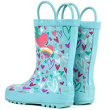 Girls 3D Heart Printed Rainboots