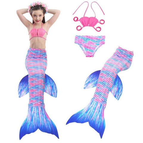 Girl's Mermaid Tail Swimming 3pcs Bikini Sets