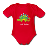 Little Brother Organic Short Sleeve Baby Bodysuit - red