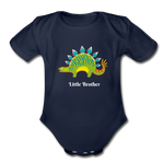 Little Brother Organic Short Sleeve Baby Bodysuit - dark navy