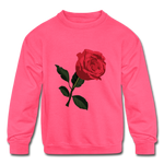Rose Kids Sweatshirt - neon pink