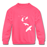 Birds Kids Sweatshirt - neon pink