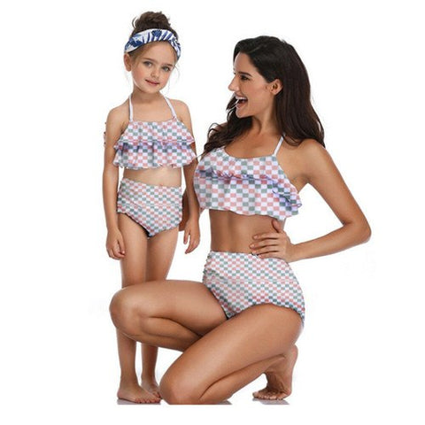 Mommy and me matching Plaid swimsuit