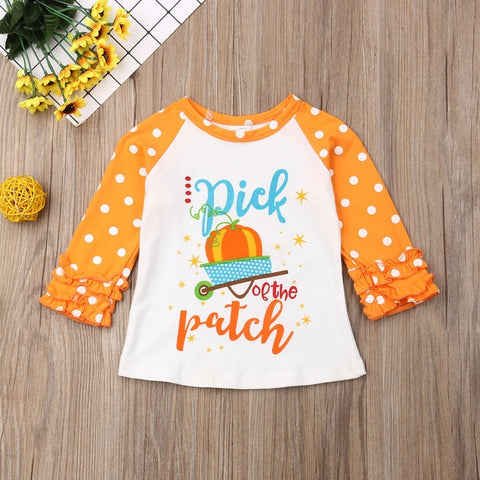 Halloween Pumpkin Print Long Sleeve Ruffle T Shirt
