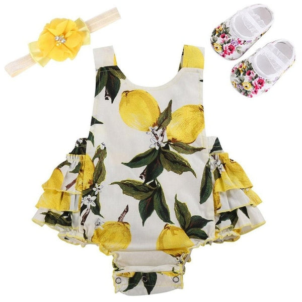 Lemon print baby girl 3 pcs romper set