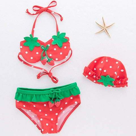 Toddlers Strawberry 3 pcs swimsuit