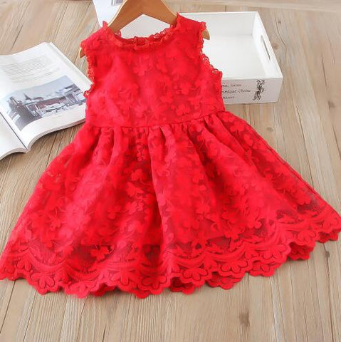 Pretty Red Little Girls Dress