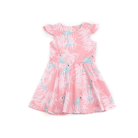 Little Girls Flamingo Printed Dress