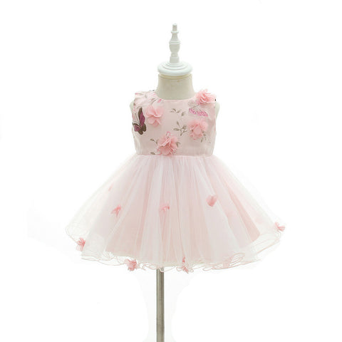 Pink Butterfly Baby Girl Flower Dress