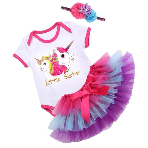 Little Sister Unicorn 3 pcs Romper Set