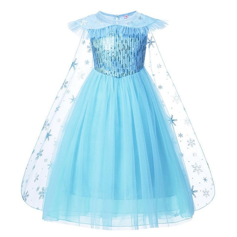Elsa Princess Dress with Cloak Costume