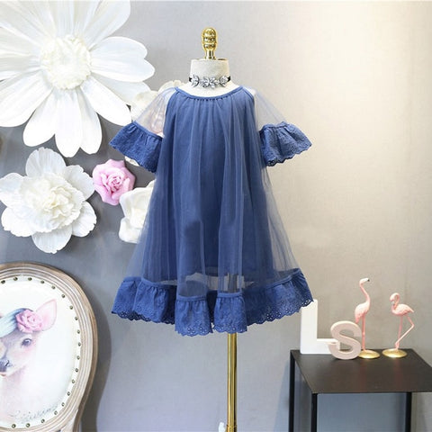 Girls Fashion Two Layers Tulle Lace Hem Dress