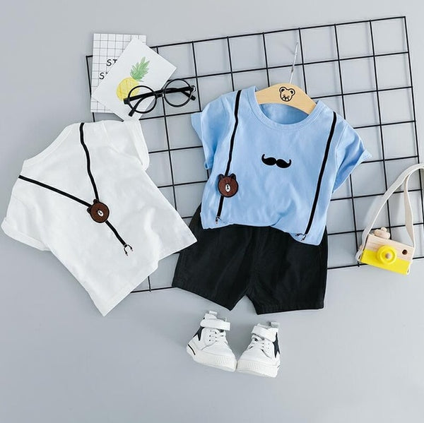 Baby Boy Shy Bear Tee and shorts set - Debbie's Kids Boutique