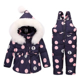 Girls Fashion Down Coat Snowsuits Jackets+bib Pants