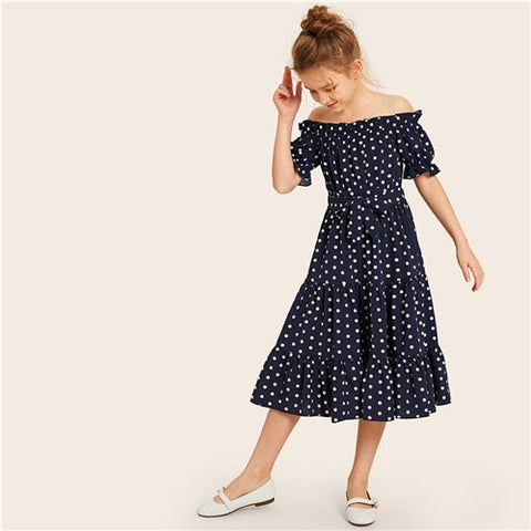 Girls  Navy Off The Shoulder Polka Dot Frill Dress
