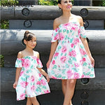 Miss Rose mommy and me matching off shoulder Dress