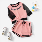 Girl's Pink Letter Print Eyelet Mesh Sleeve Waffle Top And Shorts  Set