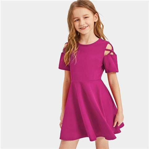 Girls Burgundy Crisscross Shoulder Ruffle Hem Girls Dress